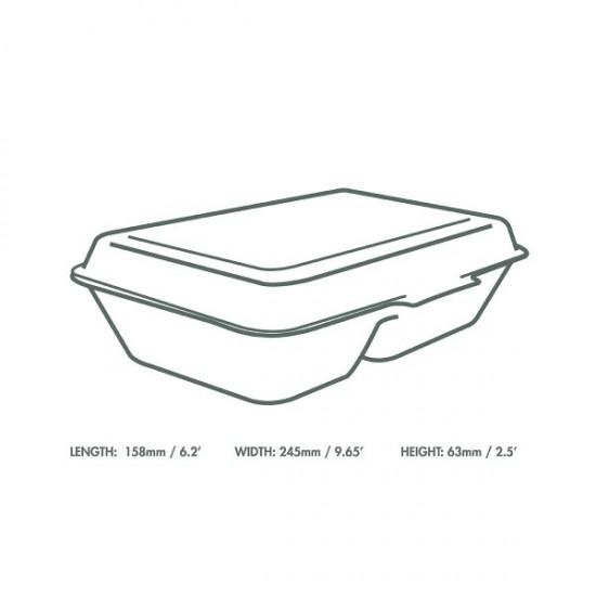 23x15 cm-es , kétrekeszes, cukornád elviteles doboz