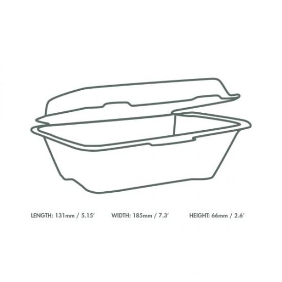 17,7x12,5 cm-es, erősített falú cukornád doboz