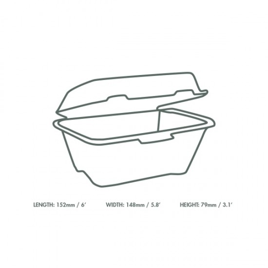 15 cm-es, erősített falú, cukornád burgeres doboz