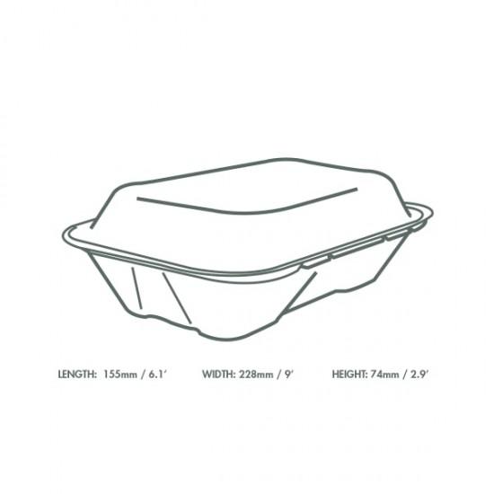 23x15 cm-es, erősített falú cukornád doboz