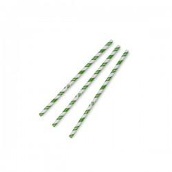 8 mm-es, zöld csíkos papír szívószál